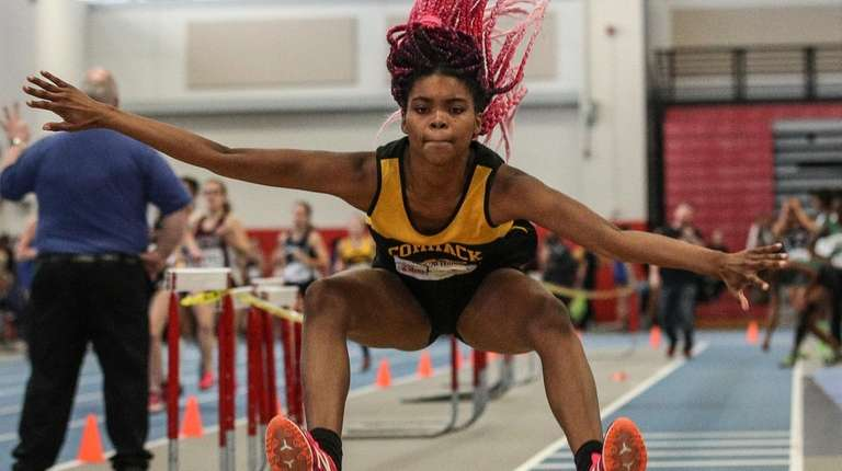 Alissa Braxton of Commack competes in the long