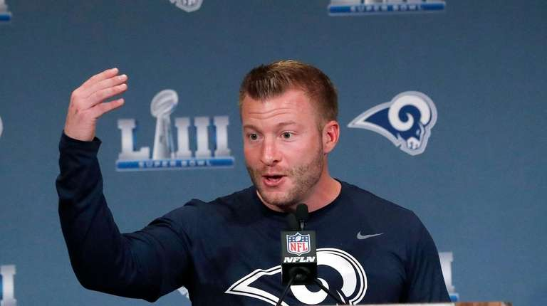 Rams head coach Sean McVay speaks during a