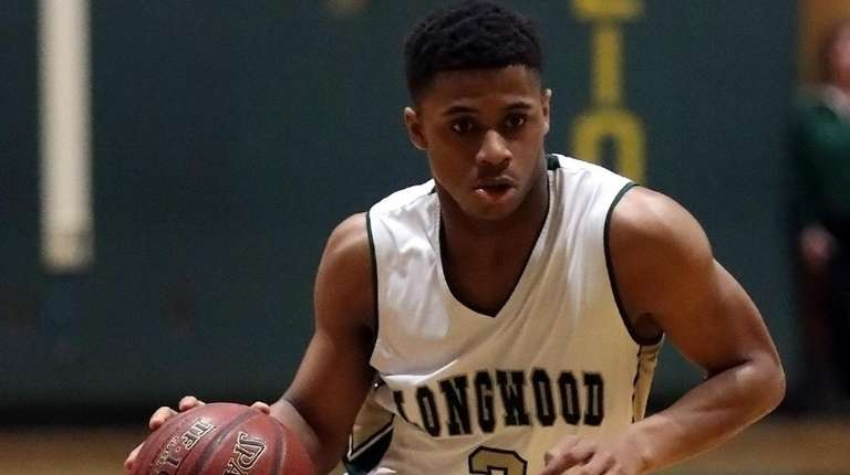 Longwood's Elijah Whitty drives from the top of