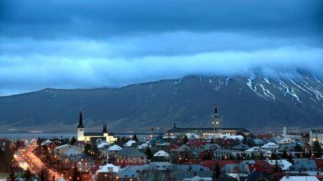 Day breaks slowly in Reykjavik, Iceland.