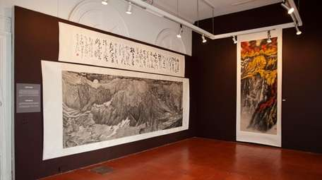 """Yu Hanyu's """"The Holy Landscape,"""" left, is a"""