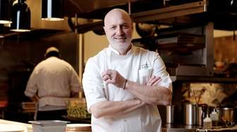 Chef Tom Colicchio in the kitchen of his