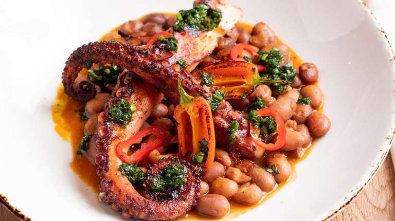 Grilled Spanish octopus with chorizo, fresno chilies and
