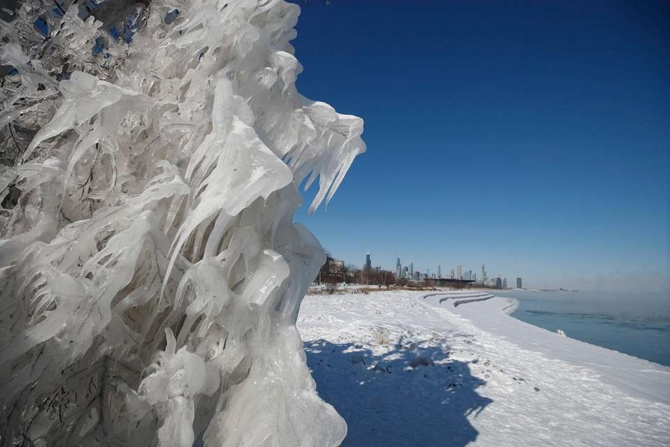 Ice and snow build up along Lake Michigan