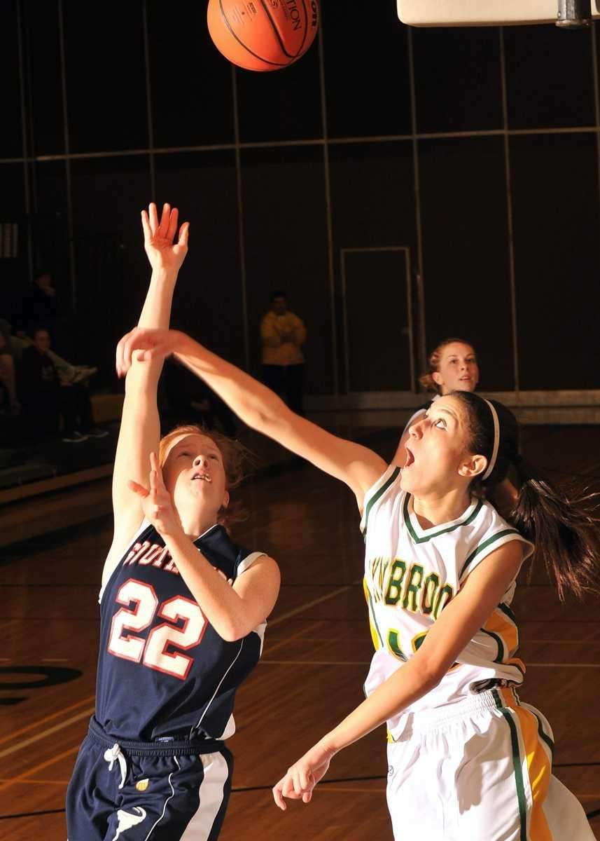 Lynbrook's #12 Brooke Gerstman, right, reacts as #22