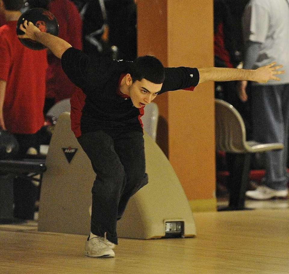 Middle Country boys bowling team member Justin Tulaba