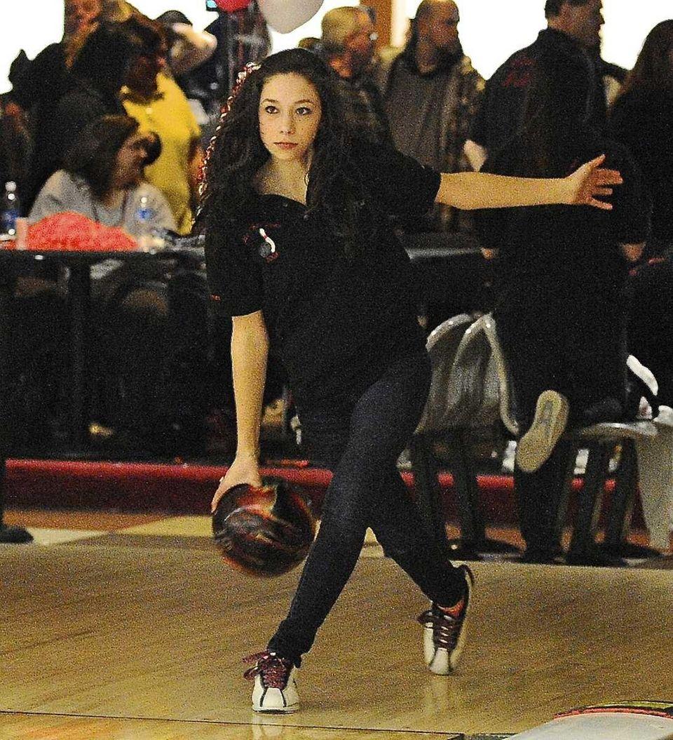 East Islip girls bowling team member Alexa DeFazio