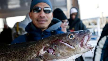 Rey Dedeios from Queens holds up a cod