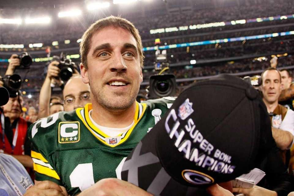MVP Aaron Rodgers celebrates after winning Super Bowl
