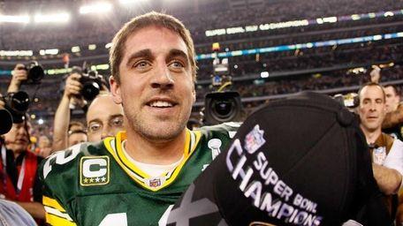 MVP Aaron Rodgers celebrates after winning Super Bowl