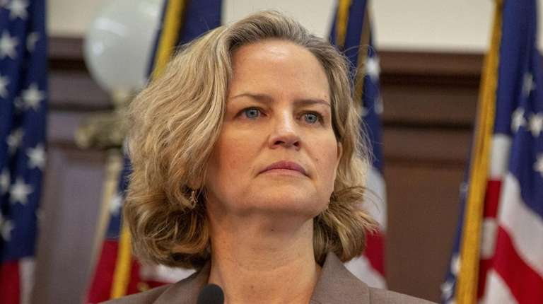 Nassau County Executive Laura Curran speaks on Jan.
