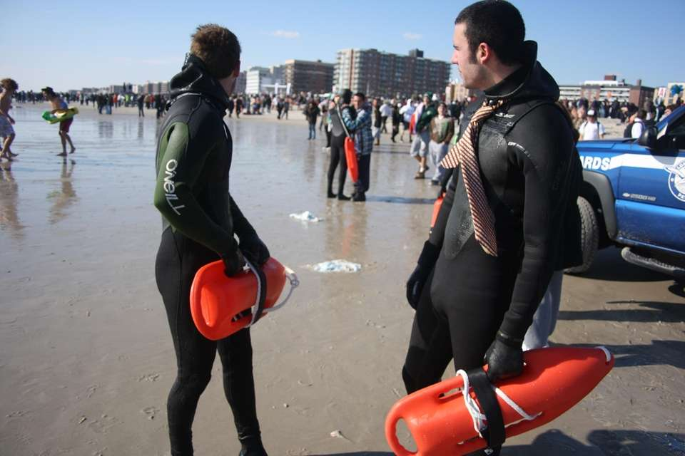 Lifeguards Adam Wiener, 20, left, and Chris Russo,