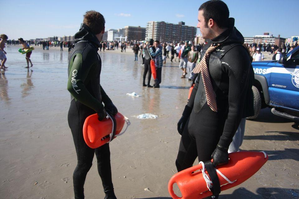 Lifeguards Adam Wiener, 20, left, and Chris Russo,
