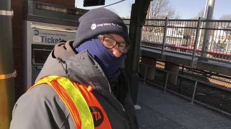 LIRR worker John Unger wore two scarves, a