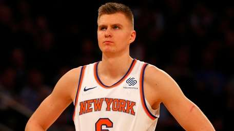 Kristaps Porzingis of the Knicks looks on against