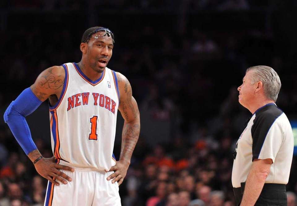 New York Knicks center Amar'e Stoudemire (1) reacts