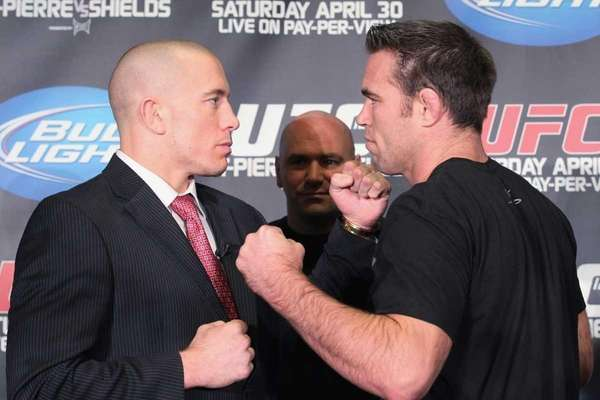 UFC 129 fighters Georges St-Pierre,left, and Jake Shields,