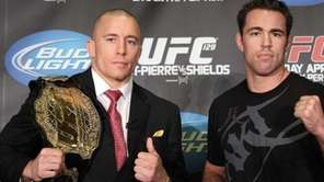UFC 129 fighters Georges St-Pierre, left, and Jake