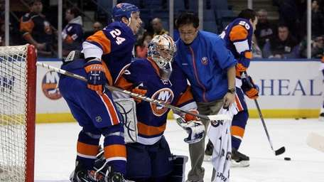Kevin Poulin #60 of the New York Islanders