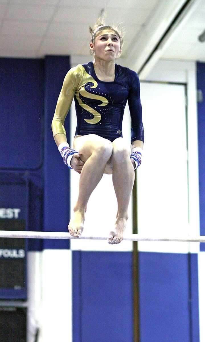 Bethpage's Serena Pergola with a soaring dismount off