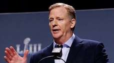 NFL commissioner Roger Goodell speaks to reporters on