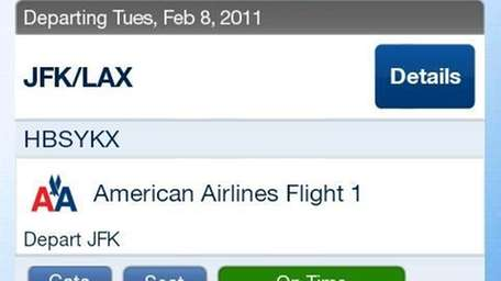 The new American Airlines app for Android phones.