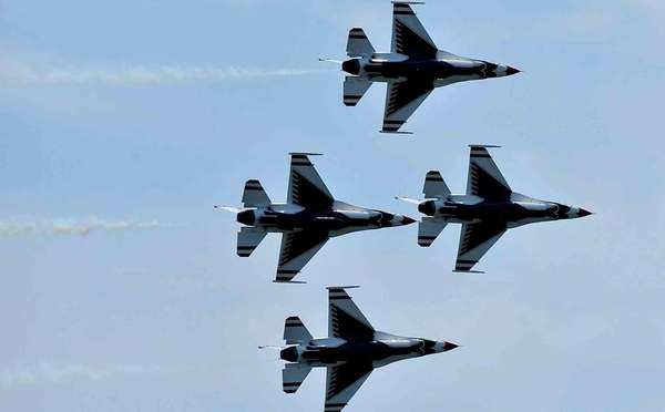U.S. Air Force Thunderbirds soar over the Atlantic