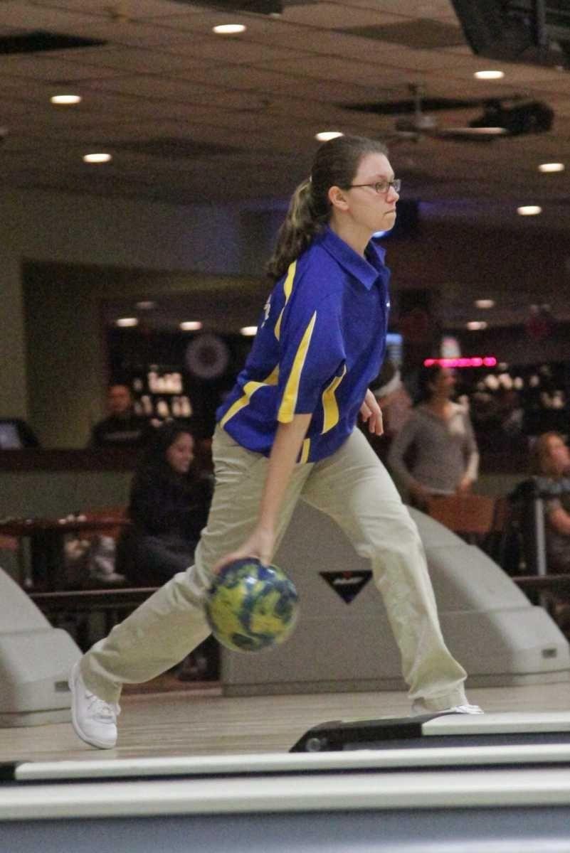 Mary Catherine Zehnder of Kellenberg HS bowls in