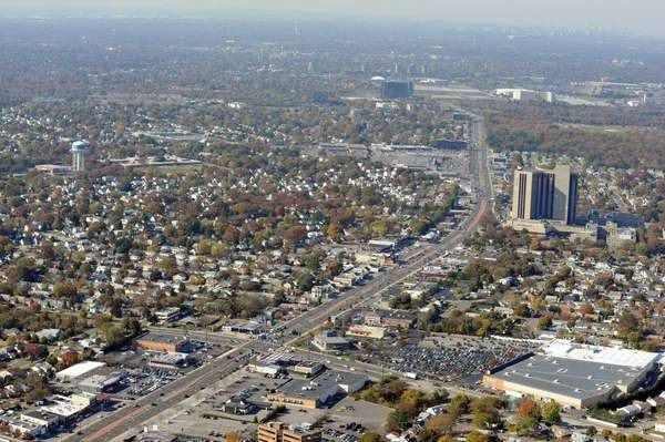 An aerial view of Hempstead Turnpike, facing west.