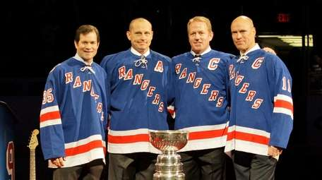 Members of the 1994 Rangers, from left, Mike