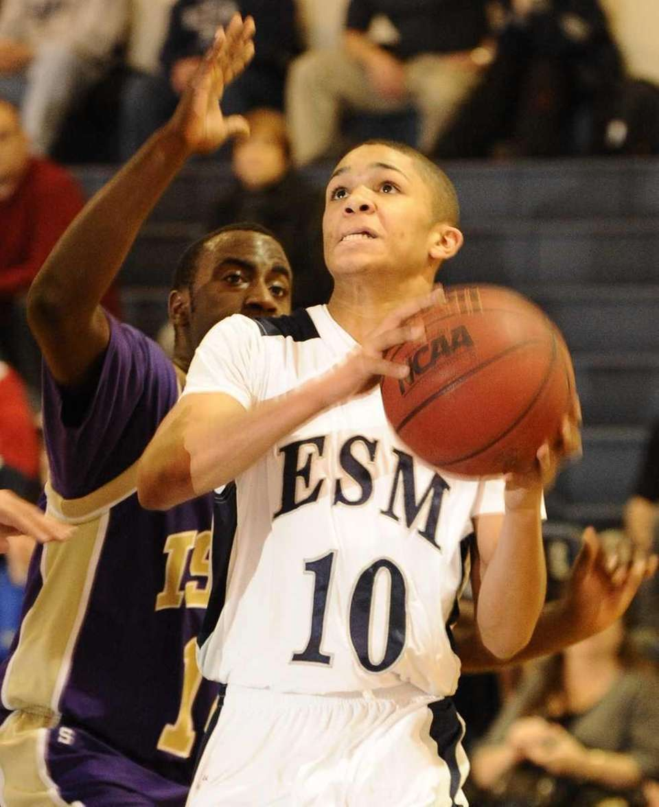 Eastport-South Manor's Curtis Smith looks to shoot against