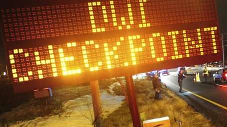 A DWI checkpoint along the Long Island Expressway