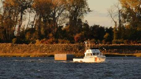 A Nassau County Police boat on patrol in