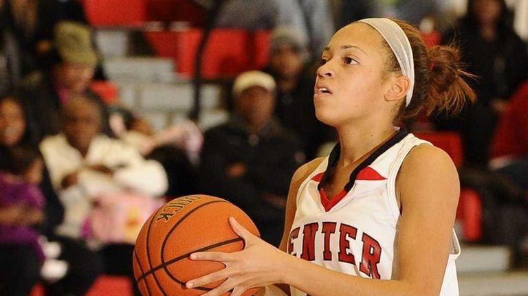 Center Moriches' Takia Plummer looks to shoot against