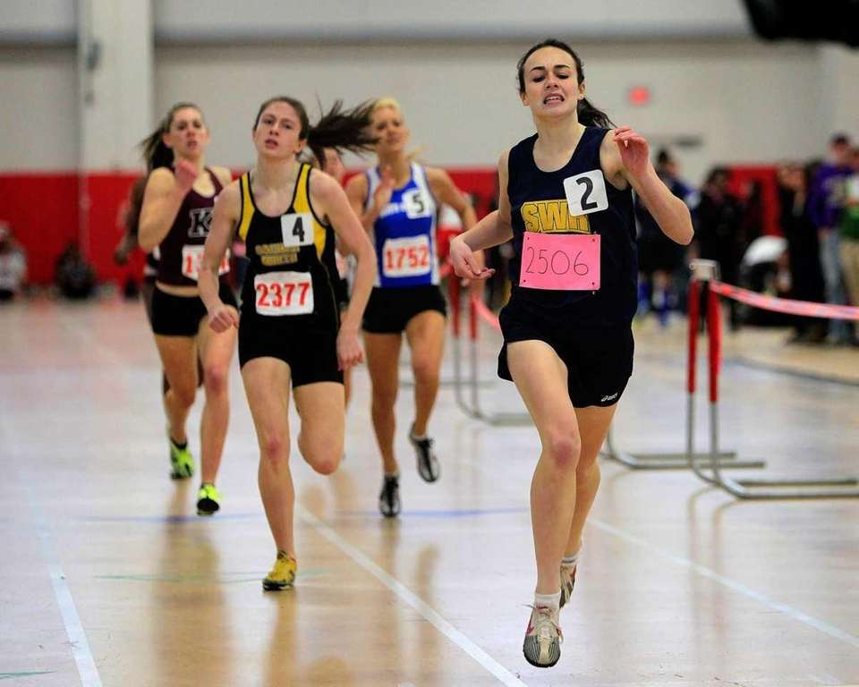 The finish of the girls 600 meters during