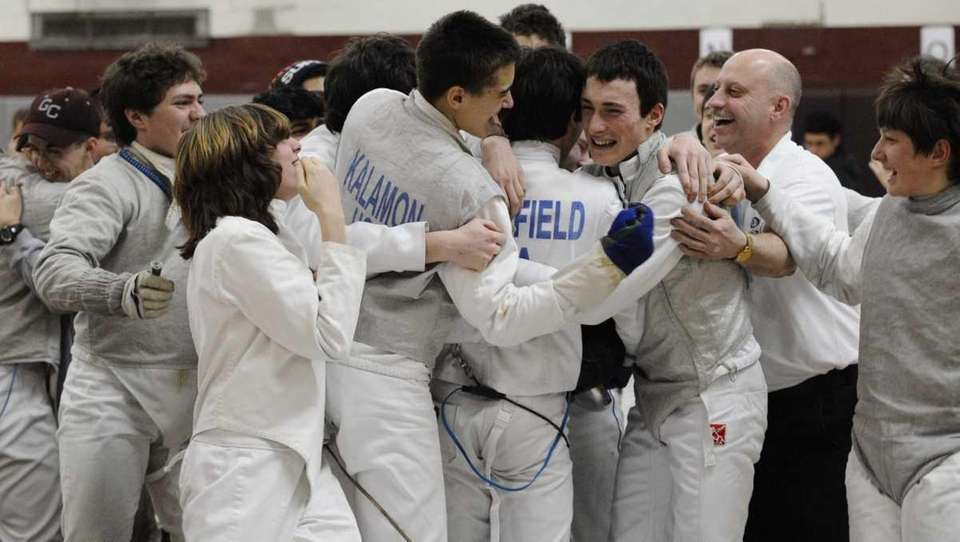 The Oyster Bay fencing team and coach mob