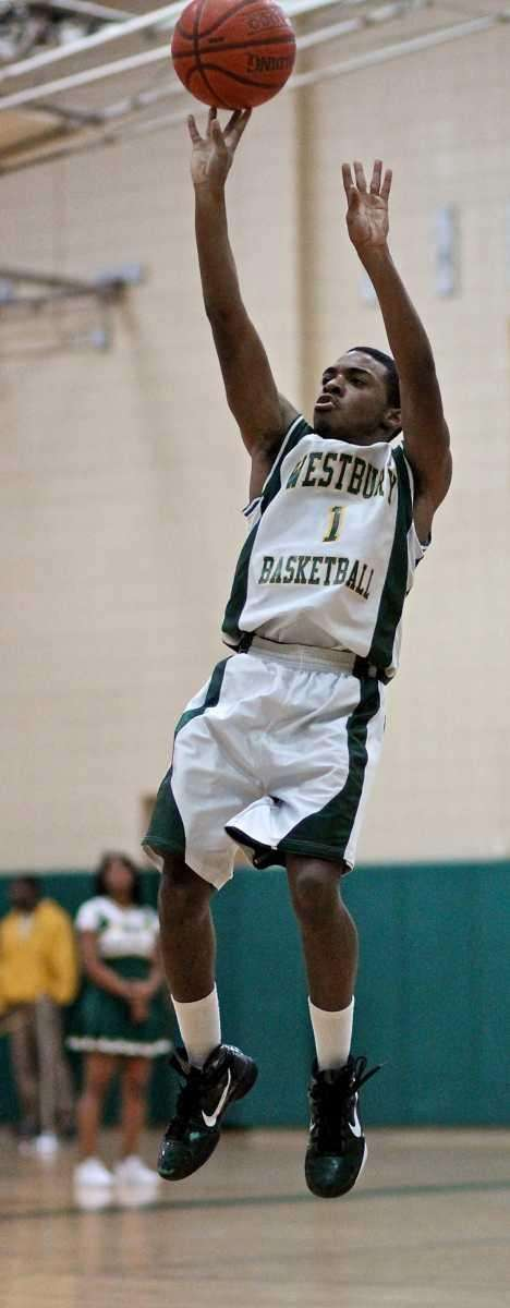 Westbury guard Marcus Redd #1 goes up for