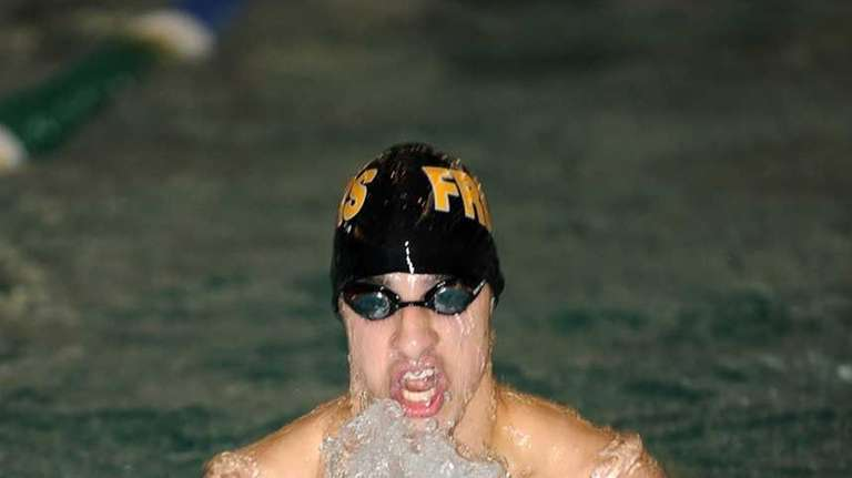 St Anthony's Christian Yeager in the breaststroke portion