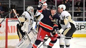 Rangers center Artem Anisimov reacts after scoring a