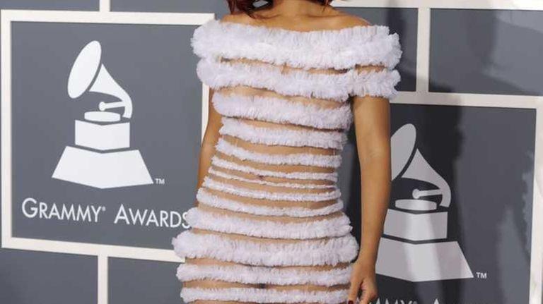 Rihanna arrives at the 53rd annual Grammy Awards