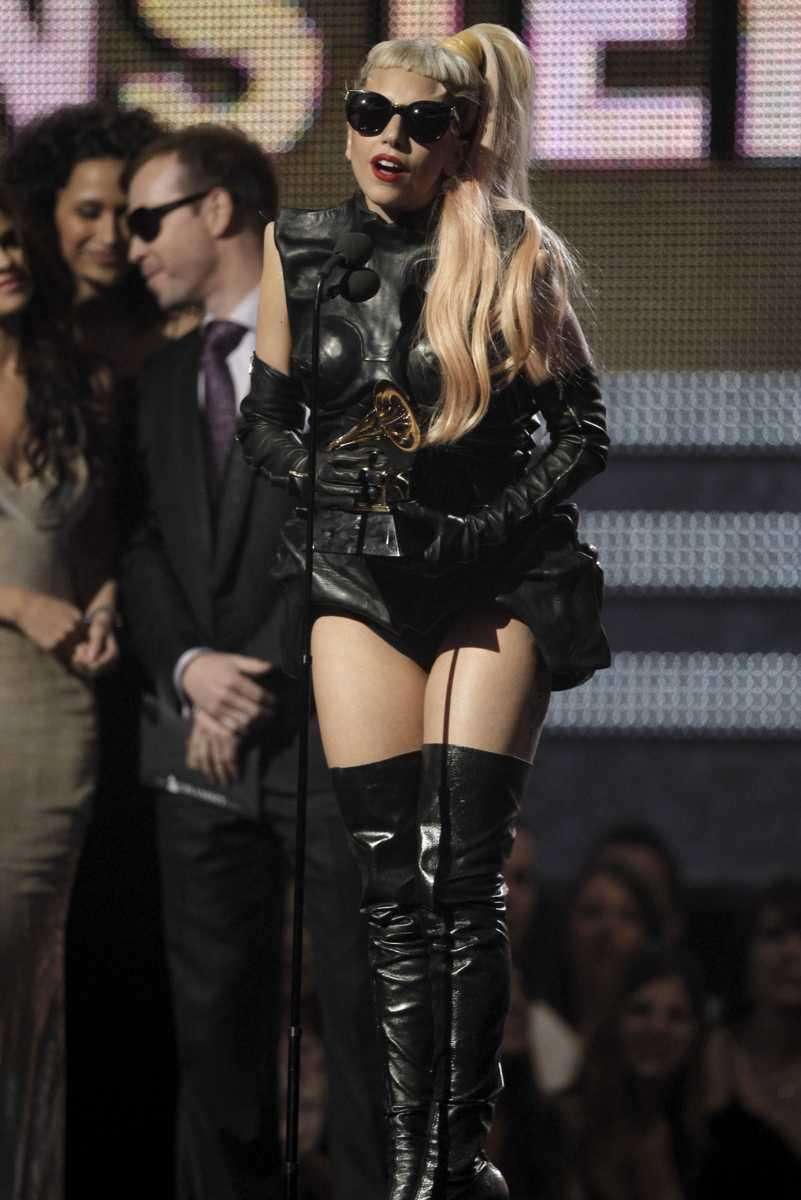 Lady Gaga accepts the award for best pop
