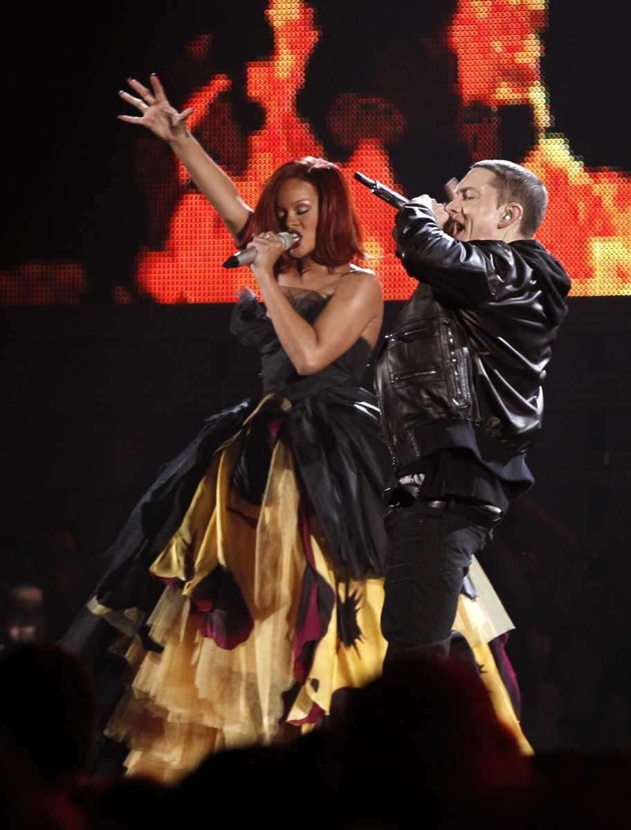 Rihanna, left, and Eminem perform at the 53rd