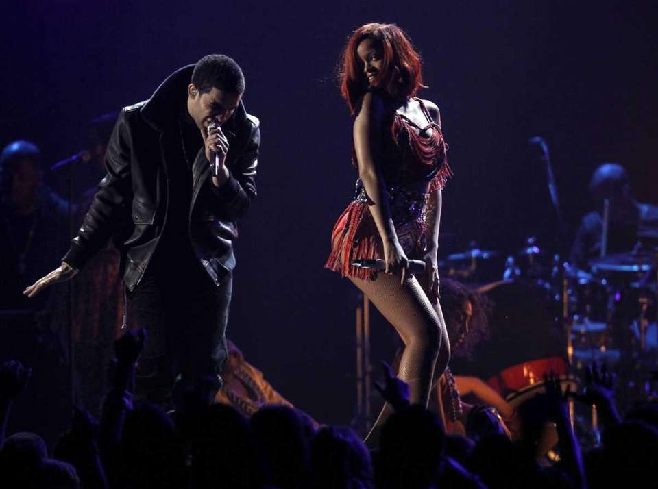 Drake, left, and Rihanna perform at the 53rd