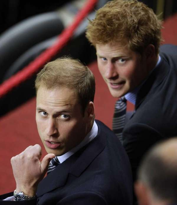 Britain's Prince William, left, and Britain's Prince Harry