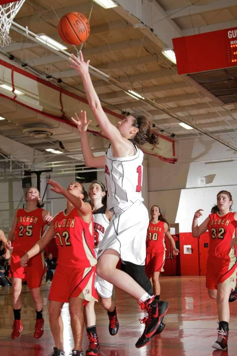 Lutheran's Paige Krifcher scores two points during her