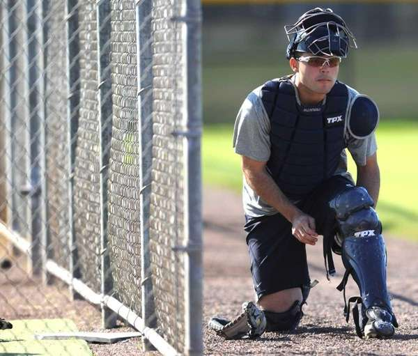 New York Yankees catcher Jesus Montero suits up
