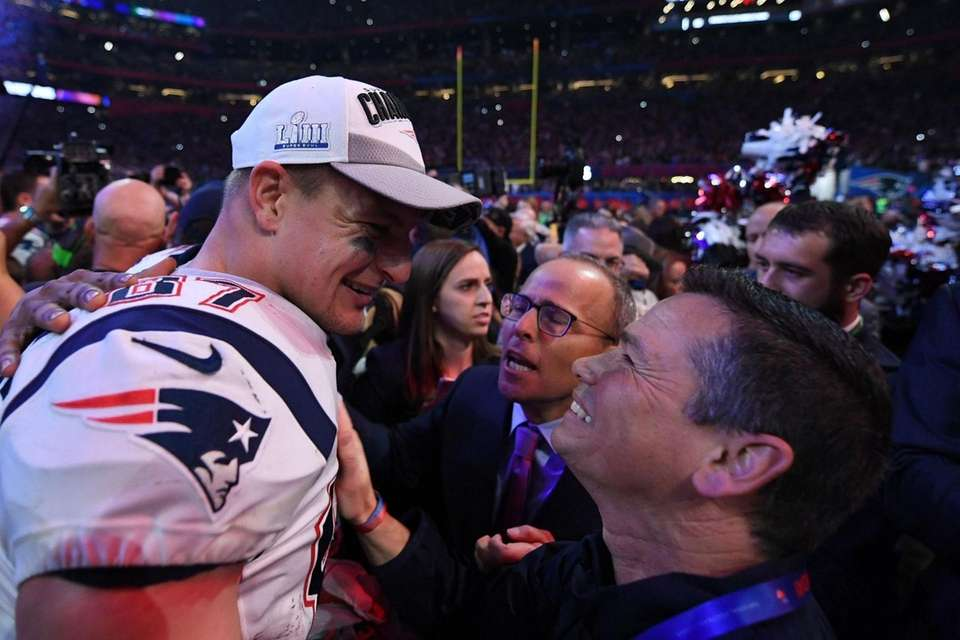Patriots tight end Rob Gronkowski celebrates after his