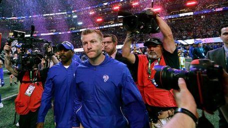 Rams head coach Sean McVay leaves the field