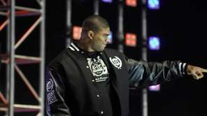Strikeforce heavyweight champion Alistair Overeem is introduced to