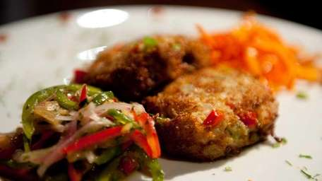 The crab cakes, made from scratch with real